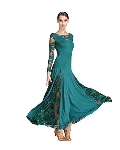 Ballroom Prom Dance Kleider - Dancing Modern Waltz Party Latin Wettbewerb Dancewear Rock Kleid Kostüme Trikot Bekleidung Accessoires für Frauen (Color : Dark Green, Size : L)