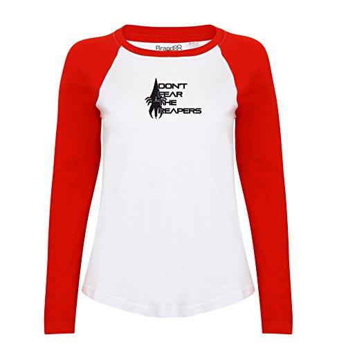 Brand88 - Don't Fear, Damen Langarm Baseball T-Shirt Weiss & Rot