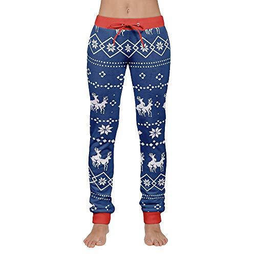 TIFIY Herren Frauen Weihnachten Skinny Hose Casual Print Hosen Kordelzug Skinny Jeans Softshell Xmas Trousers Sporthose(Blau,S)