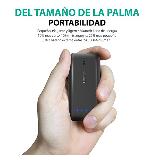 RAVPower-Bateria-Externa-6700mAh-5V24A-Tecnologa-iSmart-20-Power-Bank-Para-Smartphone-Samsung-iPhone-Huawei-Xiaomi-etc-Negro