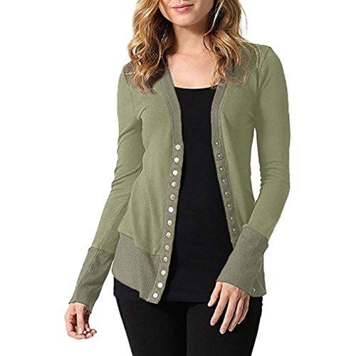 UFACE Damen Stricken Knopf Langarm Top V-Ausschnitt Button-Down-Strickwaren Langarm Strick Pullover Shirt Top Bluse(Armeegrün,EU/42CN/S)