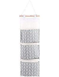 Sac de Rangement Suspendu Mignon en Tissu de Lin Derrière Porte Murale Pliable pour Chaussures Jouets Bijoux Clés 3 poches(Gray)