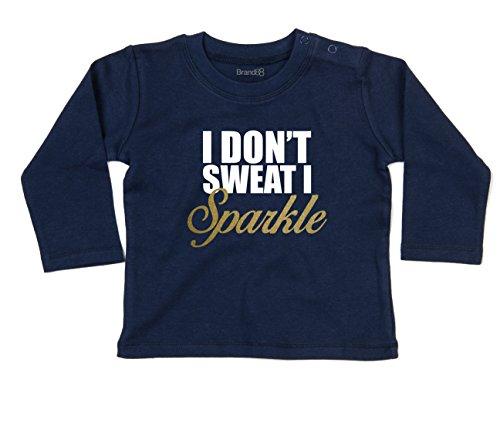 (I Don't Sweat, I Sparkle Gold Baby T-Shirt Lang Arm - Marine Blau 12-18 Monat)