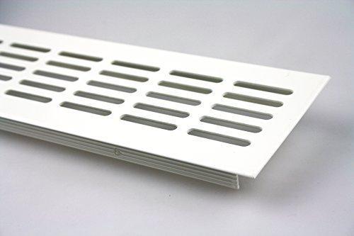 Griglia aerazione Piano a ponte Ventilazione in alluminio 80mm x 300mm in diversi colori - Bianco - RAL 9010