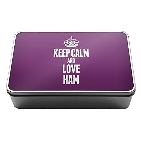Violet Keep Calm and Love Ham Boîte de rangement en métal Box 1161