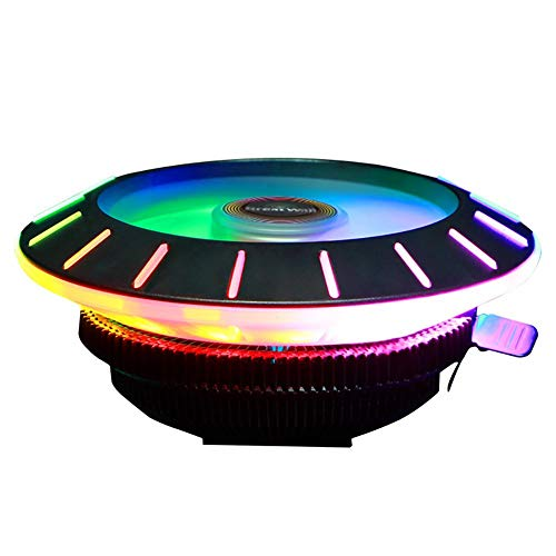 getherad CPU Lüfter, RGB bunter Low Profile CPU Luftkühler, direkt kühlend Mit LED Leuchten, Shark Fin Shape Lüfterflügel und Mute Copper Heat Column Technologie Ring Fan -