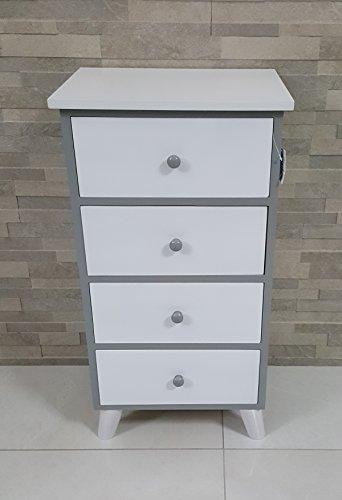 Pagano home cassettiera 4 cassetti bianco grigio laccato lucido mobile bagno , legno bianco camera bagno dimensioni 40 x 29 h 77 cm.