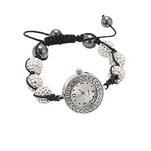 Bracelet Style Shamballa Montre Cristal/Hématite - Blanc - Ajustable