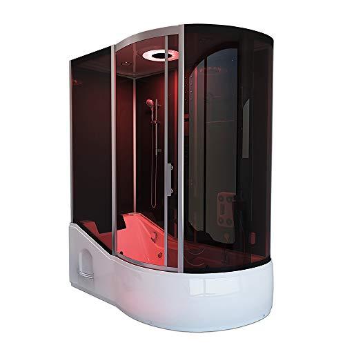 Home Deluxe - Duschtempel - All IN 4in1 schwarz rechts - Maße: 170 x 90 x 220 cm - inkl. Dampfsauna und komplettem Zubehör