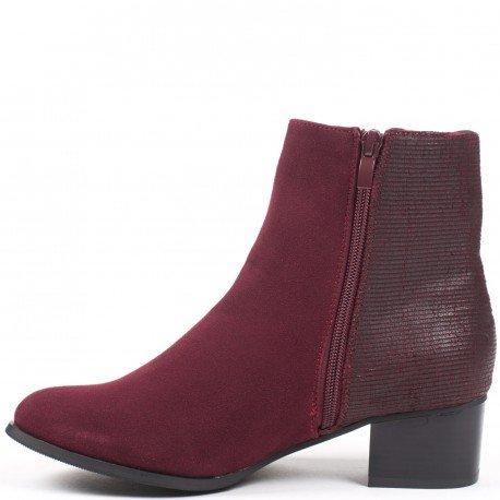 Ideal Shoes - Bottines bimatière Canelle Rouge