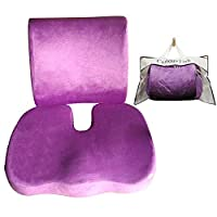 Curious fish Memory Foam Seat Cushion Back Lumbar Support Therapeutic Orthopaedic Pain Ergonomic Prevent Lower Sciatica Coccyx Tailbone Stress-Free Chairs Seat Improve Posture Instant Relief(Purple)