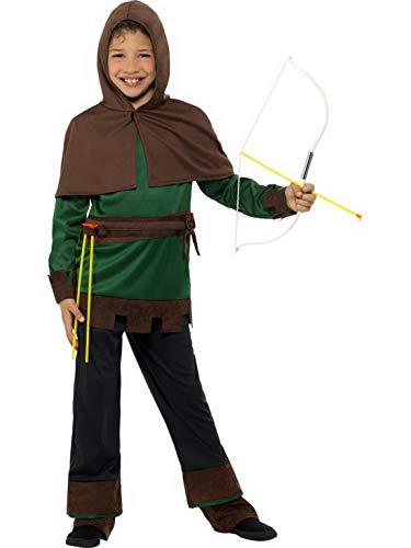 en Kinder Robin Hood Kostüm mit Hose, Oberteil und Kapuze, perfekt für Karneval, Fasching und Fastnacht, 140-152, Braun ()