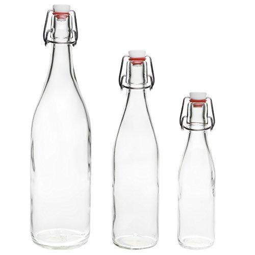 6 x 1 Litro Columpio Botella Top Tops Botellas vacías de 1000 ml de vidrio con tapón de Swing
