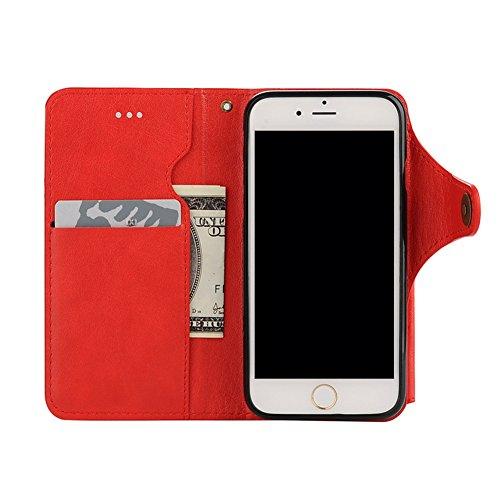 Cover per iPhone 6 Pelle, Custodia per iPhone 6S ,Libro Premium Retro PU e Snap-on Book Style Internamente Silicone TPU Case [2 in 1, Separato] [Pellicole Protettive] - Bonice Stand Flip Wallet Card S Pelle 16