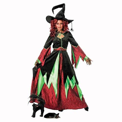 Damen-Kostüm Hexe, grün/weinrot, 2 tlg., Gr. (Hexen Kostüm Grüne)