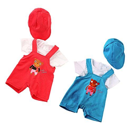 MagiDeal 2 Sets Modepuppen Schultergurt Hosen T-shirt Hut Kleidung Set, Puppen Sammlung Für 18 '' American Girl Puppe ( Rot + Blau ) (American Girl Puppe Rotes T-shirt)