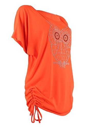 Italy Moda Raff Shirt Plus Size Kurzarm Strass Nieten Eulen Motiv Neonorange