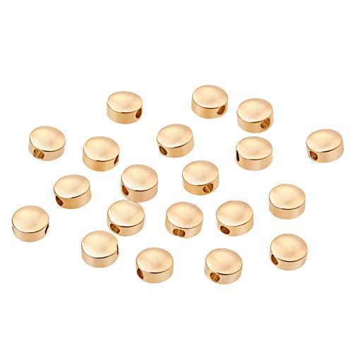 BENECREAT 20 STUCKE 18 Karat Gold uberzogene Perlen Metallperlen fur DIY Schmuckherstellung und andere Kunsthandwerk - 5x3mm, flache runde Form -