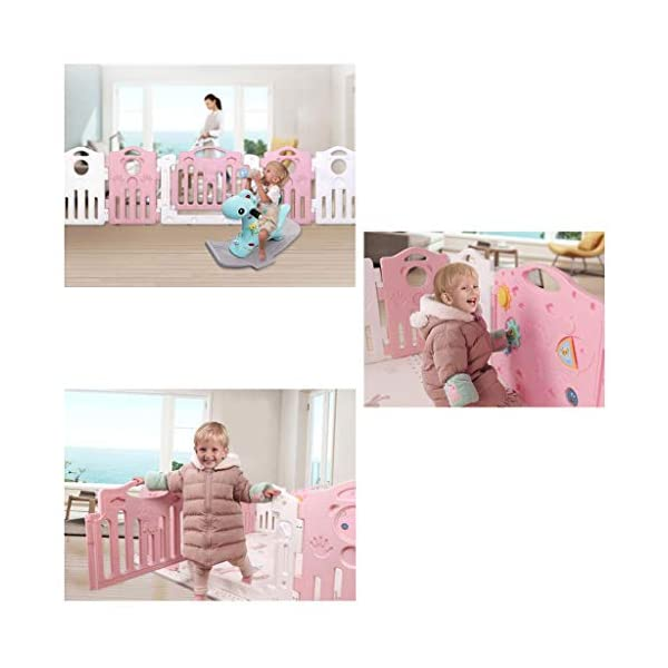 Baby Playpen HUYP Baby Fence Play Area Foldable Baby Fence Crawling Toddler Home Outdoor (color : Pink, Size : 20 small pieces) Baby Playpen  5