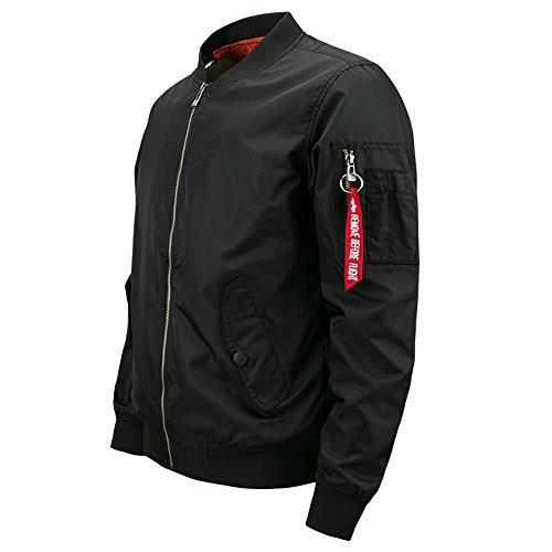 Lanbaosi Herren MA-1 Flug Bomberjacke Black Fashion Frühling Outwear Mantel (Schwarz Flug Force Air Stil)
