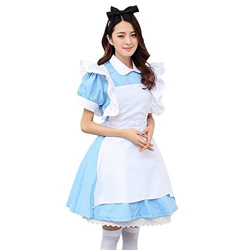 LSERVER Alice im Wunderland Kleid Anime Clubwear Phantasie Cosplay Karneval Halloween Kostüm, M (Herstellergröße L)