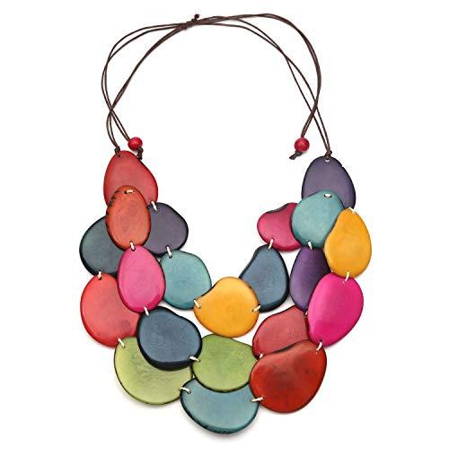 Idin Jewellery - Handgemachte bunte 3 Strang Tagua Slice verstellbare Schnur Halskette (Schnur 3 Stränge)