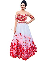 Fast Fashions Women's Heavy Net Embroidered Semi Stitched Lehenga Choli (White_Rose)