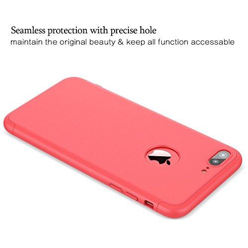 Qissy®3 in 1 Ultra Dünner PC Harte Case 360 Grad Schutzharte iPhone 7 Fall Premium mattierte Schutzhülle (iPhone 7, Schwarz + rot) Red