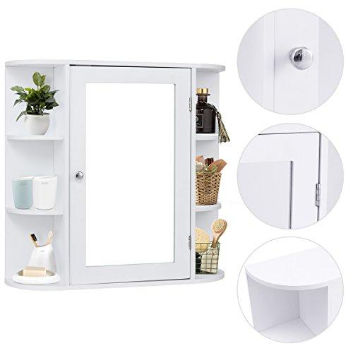 COSTWAY Spiegelschrank Badezimmer, Badezimmerspiegel mit Ablagen, Badezimmerspiegelschrank weiß, Wandschrank mit Badspiegel, Hängeschrank mit Spiegeltür