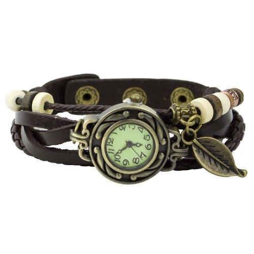 Toogoo(r)orologio polso al quarzo bracciale donna foglie cinturino caffe' cuoio classico