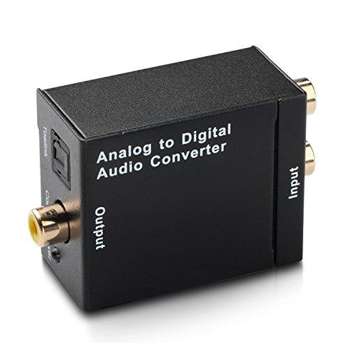SXUDA Audio Konverter Wandler Analog zu Digital Toslink und Koaxial Wandler Cinch auf Optisch Audiowandler mit Netzteil (Analog zu Digital)- Schwarz