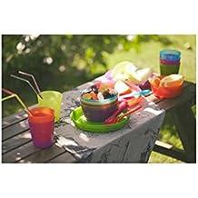 36pcs 18 cubertería cuchara cuchillo tenedor Party Kids Meal Picnic Alimentos placa de cuencos taza de