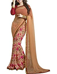 Vinayak Textile Women's Georgette Printed Saree (VTAYS04-24_Orange)