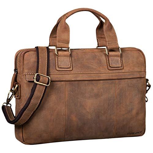 STILORD 'Andrew' Vintage Business Ledertasche Klassische Aktentasche für Herren und Damen 13,3 Zoll Laptoptasche für Arbeit Büro Aufsteckbar, Farbe:Used Look - braun