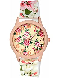 Excelencia CW-44-WhtSil White Silicone Floral Printed Analog watch for Women, Girls
