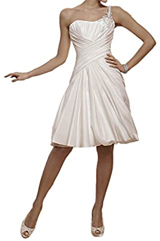 Milano Bride Neu Ein-Traeger Herzform Kurz Hochzeitskleider Brautkleider Brautmode Damen mit Faltenwurf