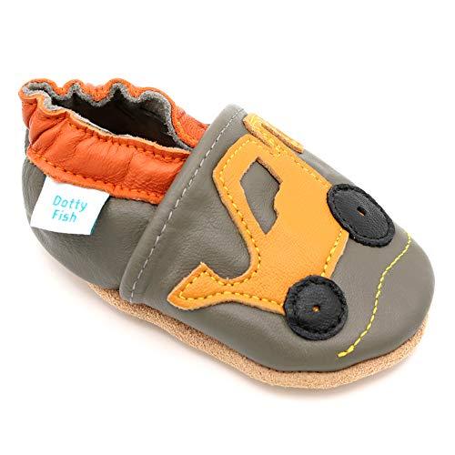 Dotty Fish weiche Leder Babyschuhe mit rutschfesten Wildledersohlen. 0-6 Monate (18 EU). Grauer Schuh mit gelbem Baggerentwurf für Jungen. Kleinkind Schuhe.