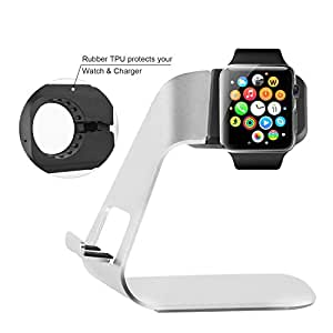 Archeer Supporto Stativo iPhone & iWatch in Alluminio Orologio Cellulare Stand 2 in 1 per Tutti (iPhone 5/ 5S/ 6/ 6 Plus, iWatch BASIC Model / SPORT Versione / EDITION Model)