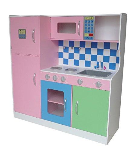 Kiddi Style Große Premium Kinderküche & Spielküche in Pastellfarben – Puppenküche aus Holz
