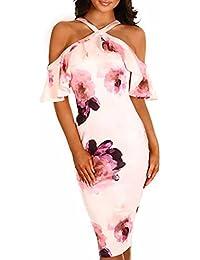 MYWY Vestito donna abito midi sexy scollo incrociato maniche volants spalle  nude aderente elegante bc2dc208005