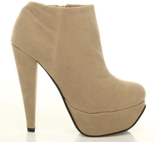 Donna piattaforma tacco alto caviglia scarpe stivali stivaletti taglia Beige Taupe Nude