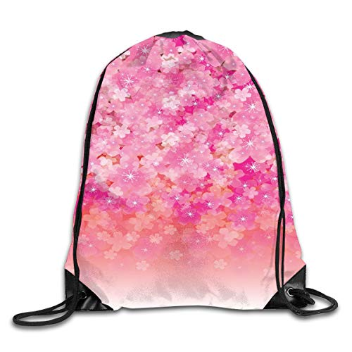EELKKO Drawstring Backpack Gym Bags Storage Backpack, Cherry Blossom Tree Flowers In Vibrant Tones Spring Beauty Illustration Japan,Deluxe Bundle Backpack Outdoor Sports Portable Daypack -