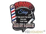 FEENOMENN Plaque Métal Déco Vintage - Effet Relief - Enseigne Barbier Coiffeur - Barber Shop (38x30cm)
