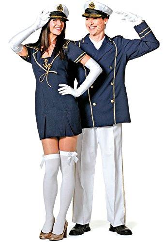 Karneval Klamotten Kapitän Kostüm Damen Kapitänskostüm Matrosen Kostüm Matrose Damen Kostüm Matrosin blau-gold Karneval Kleid Größe 38