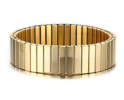 Vnox Delle donne degli uomini 16 millimetri Larghezza polsino dell'acciaio inossidabile del braccialetto di stirata braccialetto,tono