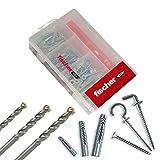 Fischer 513432Kit Easy Dübel UX mit Schraube sortiert und Bits für Befestigung auf Mauerwerk voller, gelocht, Gipskarton und Platten, grau, Set, 43Teile