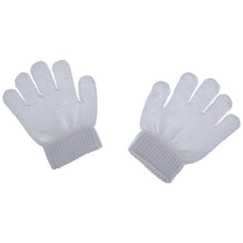 HuntGold Baby Winter Warm Vollfinger Handschuhe Acryl Weiche Feste Stricken Kinder Handschuhe Weiß (Luigi Kostüm Baby)