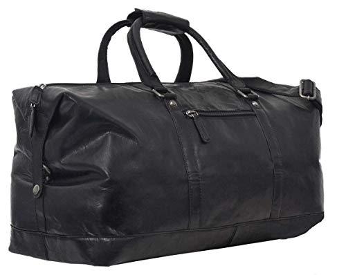 Reisetasche Leder Damen Herren groß - Gusti Ruben 36L Handgepäck Weekender Schwarz