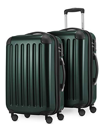 HAUPTSTADTKOFFER® · Set de 2 Valises cabine à coque dure · 45 litres · Serrure TSA (Vert forêt)