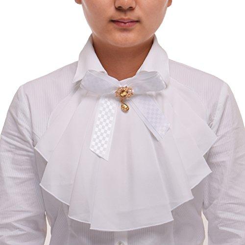 Kostüm Kolonialen Halloween - BLESSUME Victorian Tuch Jabot Ausschnitt 1 Stück (Weiß)